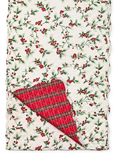 - Lenox Holly Reversible Tartan Quilted Table Runner Ivory
