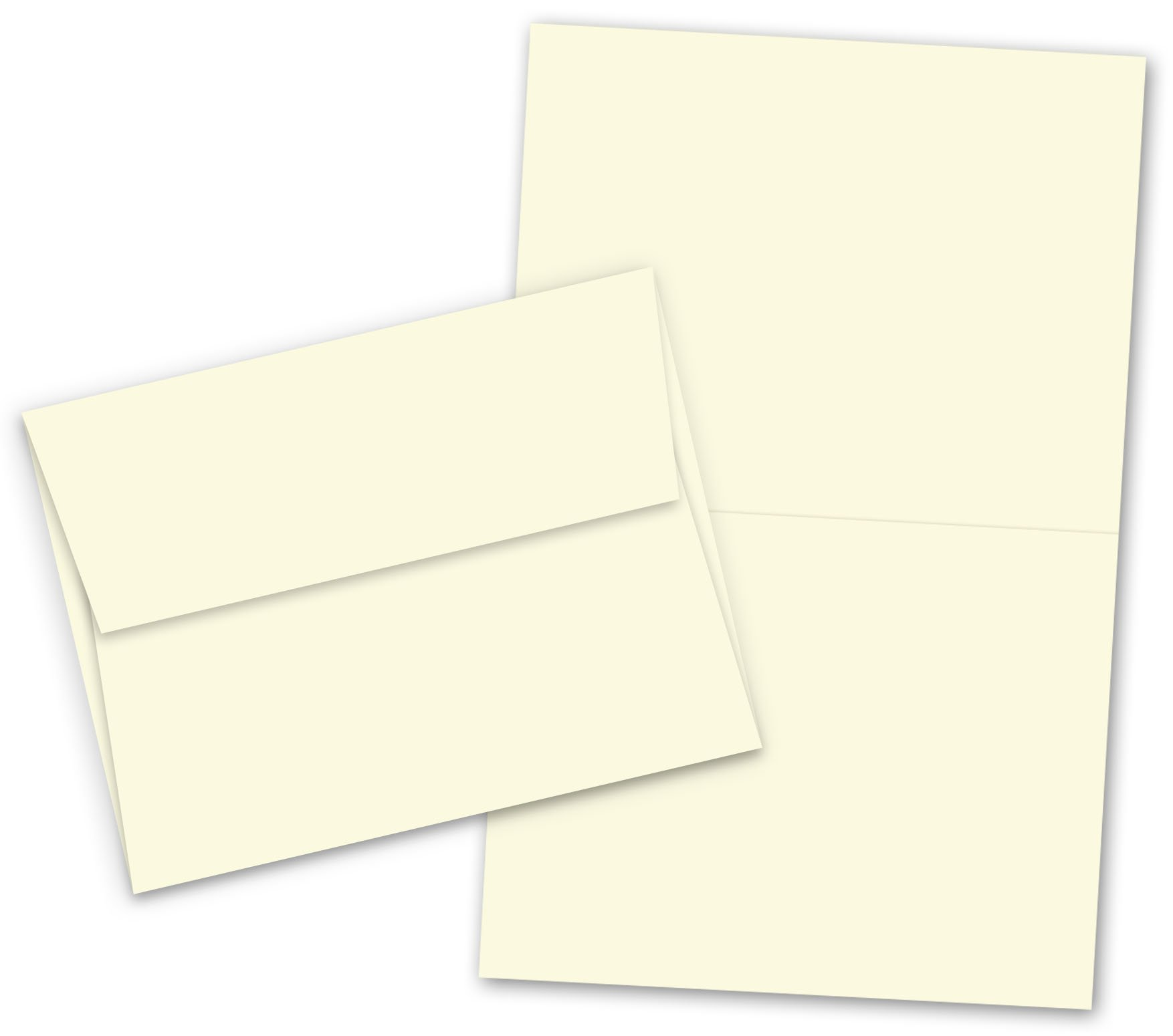 A7 - 5'' X 7'' Heavyweight Blank Cream / Natural Greeting Fold Over Card Sets - 50 Cards & Envelopes