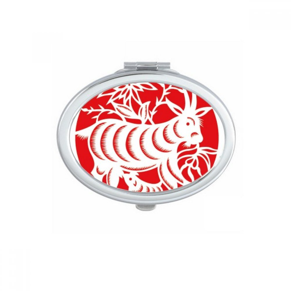 DIYthinker Paper-cut Sheep Animal China Zodiac Art Oval Compact Makeup Mirror Portable Cute Hand Pocket Mirrors Gift