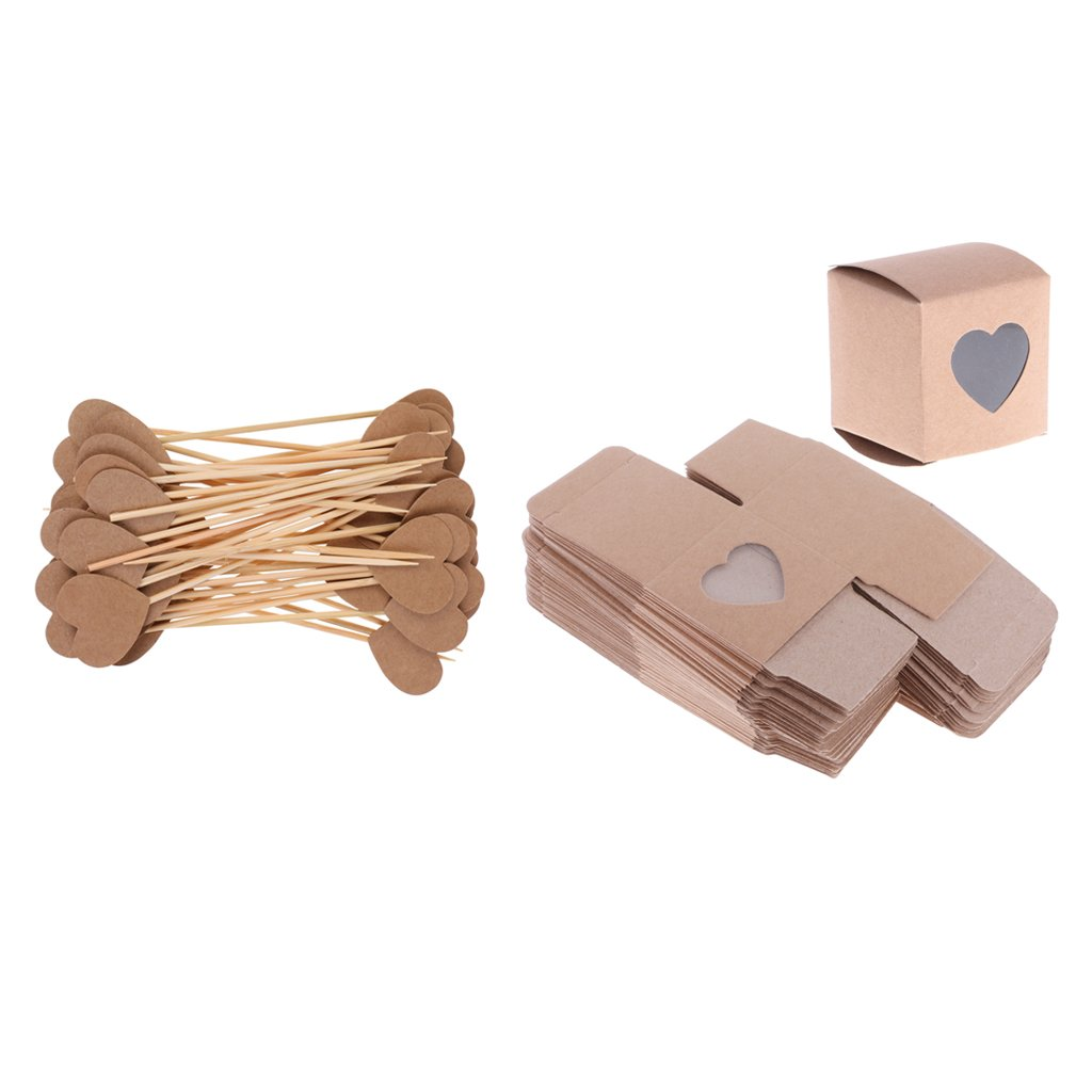 Dovewill 50pcs Rustic Country Style Heart Window DIY Kraft Candy Gift Boxes 50pcs Paper Heart Cupcake Picks Sticks Wedding Party Supplies