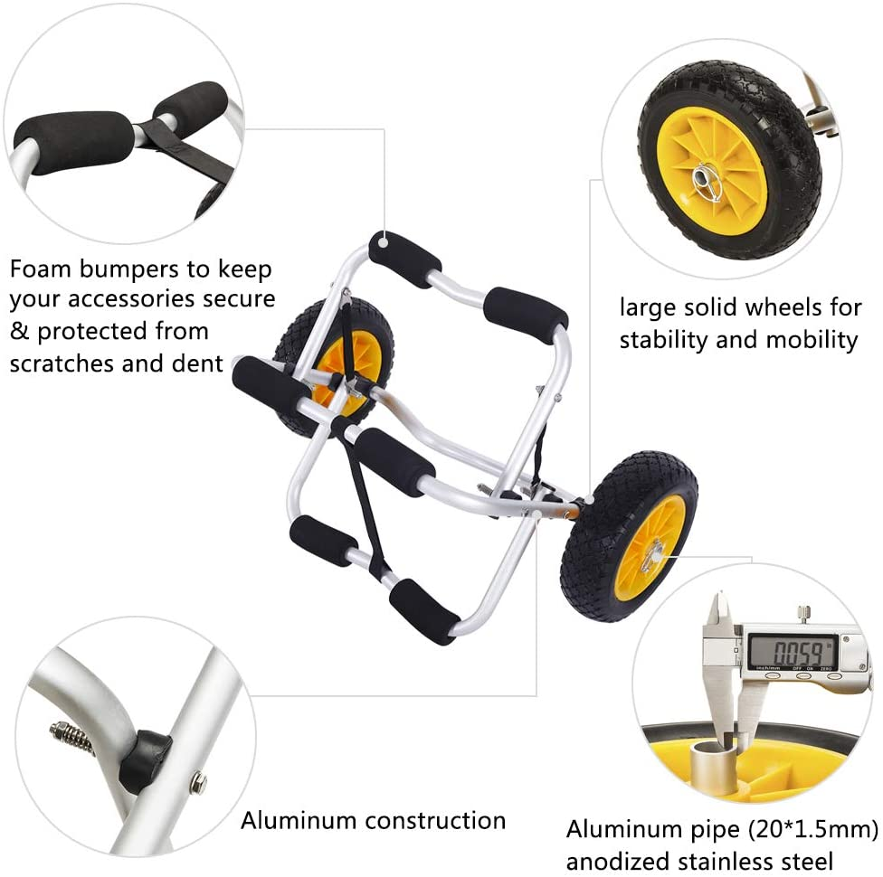 and a light-colored beach It is shipped in a British warehouse. It is easy to use and versatile curved legs Ocido The aluminum alloy kayak trailer has thick walls
