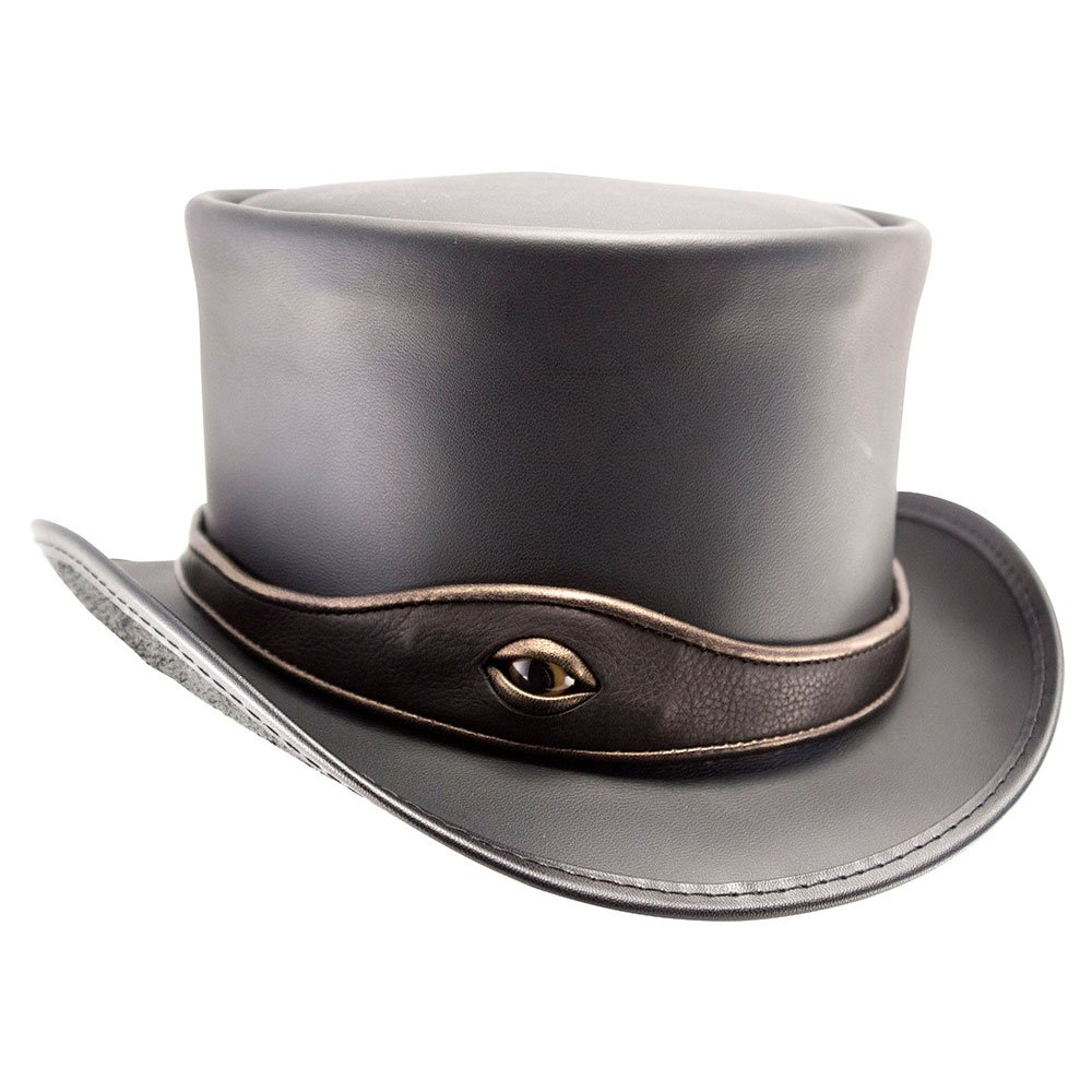 American Hat Makers EL Dorado-Eye Band by Voodoo Hatter Leather Top Hat, Black Finished-Eye Band - 3X-Large