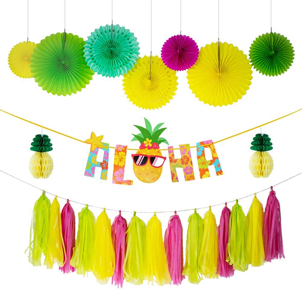 Echolife 25 Pcs Hawaiian Aloha Party Decorations Large Glittery Aloha Banner Pineapple honeycomb balls Hanging Paper Fans for Luau Summer Birthday Theme Party Supplies