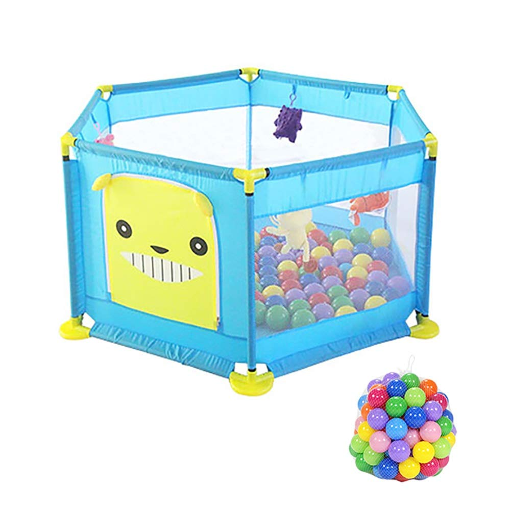 ヘキサゴンベビープレイペンボール、安全アンチロールオーバ幼児のプレイ、アンチコリジョンブルーキッズゲームフェンス、128×64cm   B07K8PMF9Y
