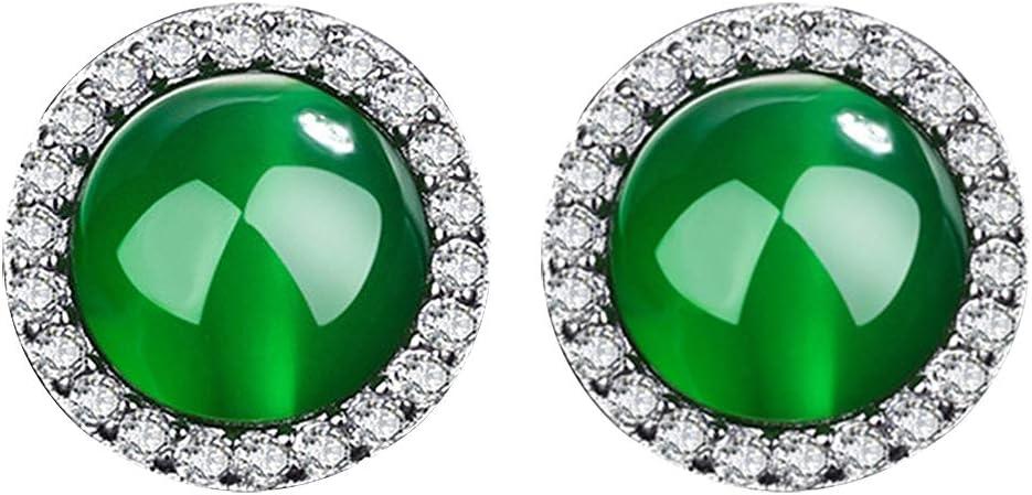 Joyfeel buy Pendientes de Las Mujeres Pendientes de Cristal Verde Piedra Preciosa Tachuelas de Cristal Simple y Brillante