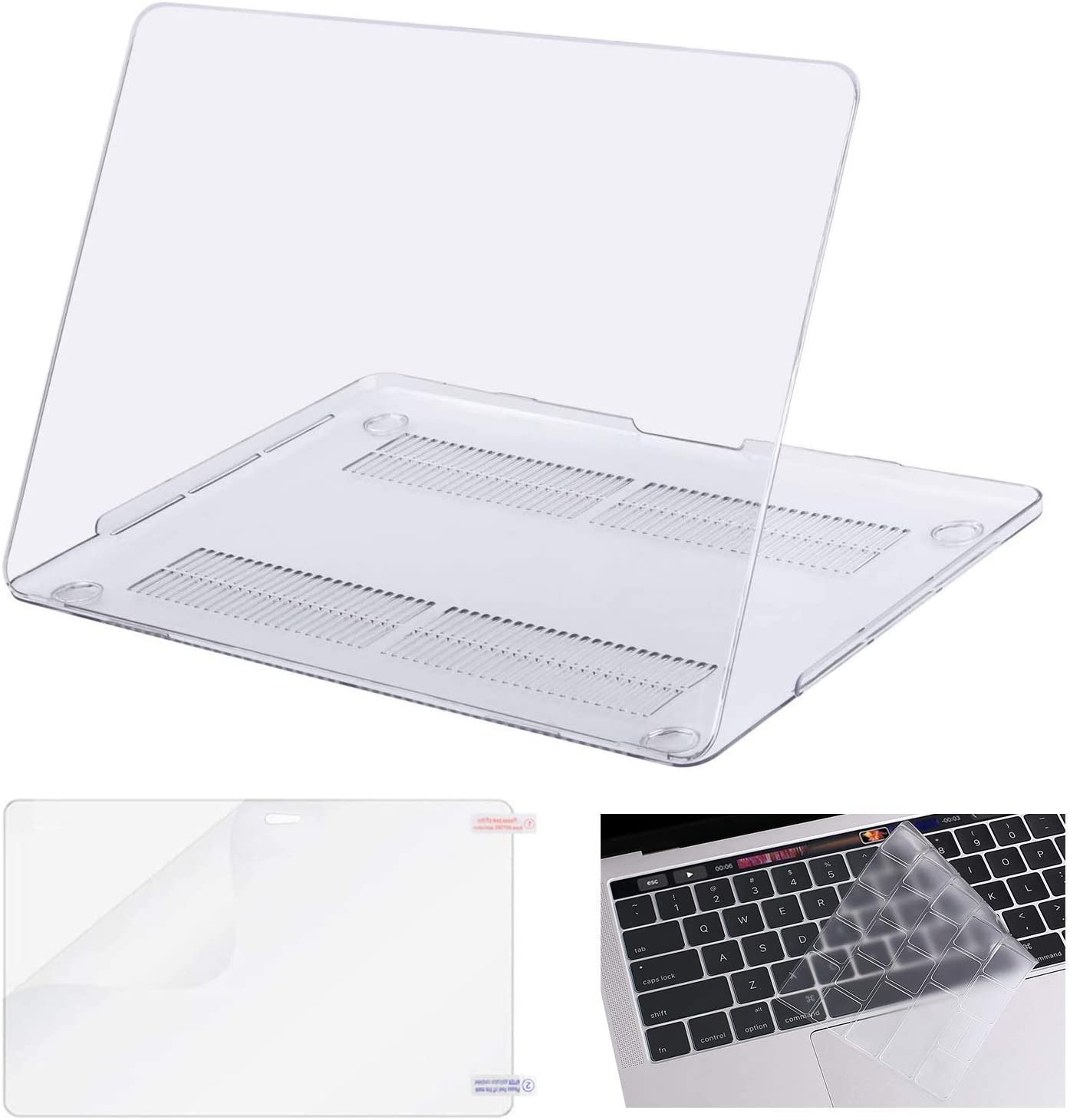 MOSISO Plastic Hard Shell Case & Ultra Thin TPU Clear Keyboard Cover Compatible with MacBook Pro 13 inch 2019 2018 2017 2016 Release A2159 A1989 A1706 A1708