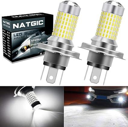 NATGIC H4 9003 HB2 Bombillas para luces antiniebla LED Xenon White ...