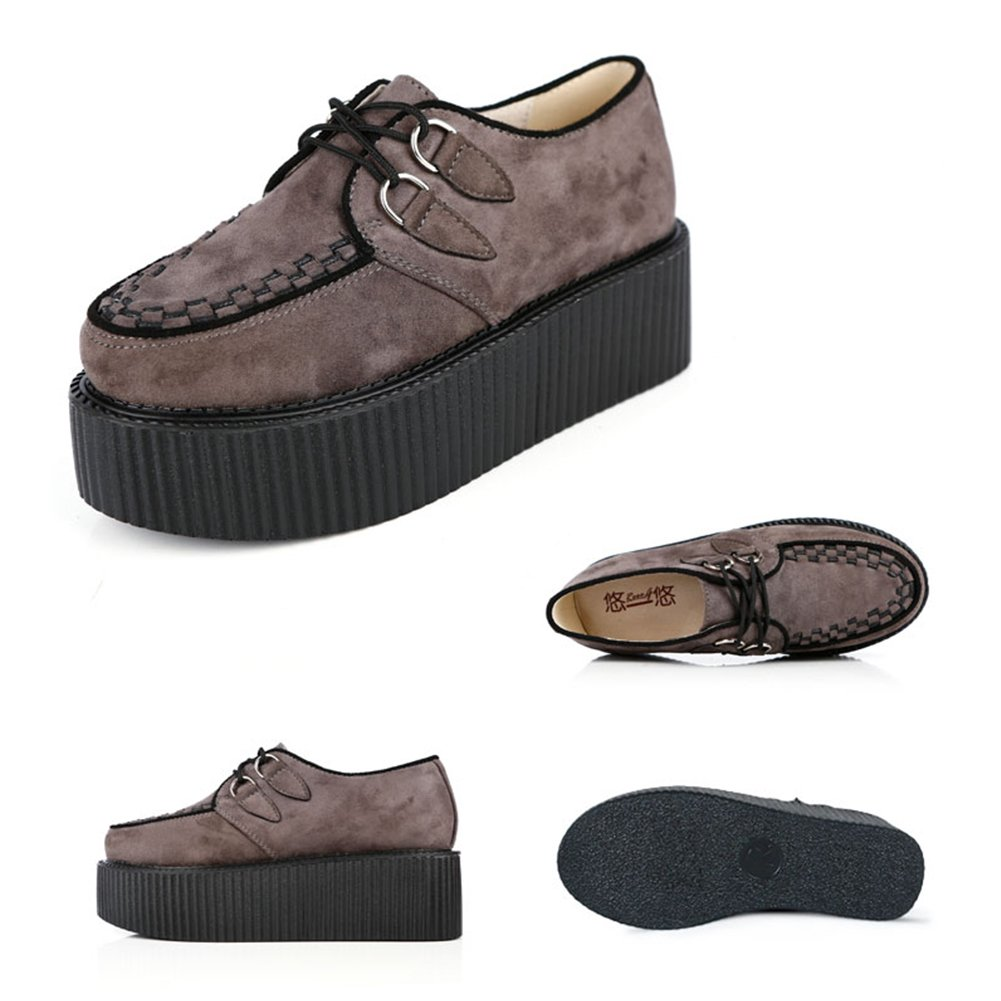 RoseG Women's Handmade Suede Lace Up Flat Platform Creepers Shoe