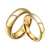 SINLEO Tungsten Carbide Gold Domed Ring Classic Plain Engagement Wedding Band for Men Women 6mm,4mm