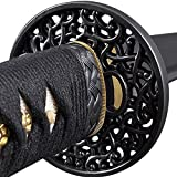 katana sword parts - Handmade Sword - Japanese Samurai Katana Swords, Functional, Hand Forged, 1045 Carbon Steel, Heat Tempered, Full Tang, Sharp, Black Wooden Scabbard