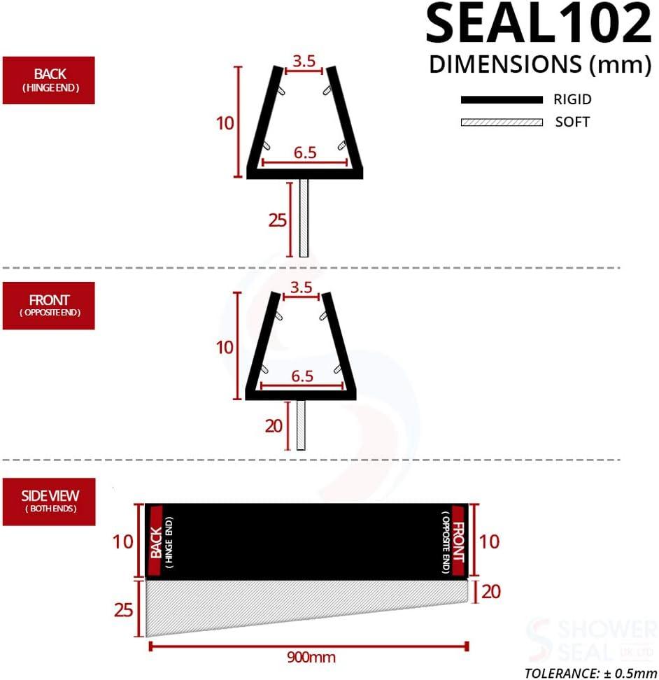 5 ou 6 mm Joint de douche conique pour /écrans portes ou panneaux SEAL102 Convient pour verre de 4 Forme droite Permet de sceller les /écarts in/égaux de 20 mm /à 25 mm Longueur de 90 cm