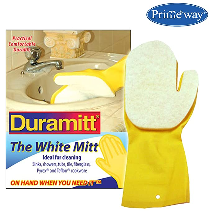 Primeway® Duramitt White Scour Cloth Mitt Ideal for Cleaning - Right Hand (WSM) Cleaning Gloves at amazon
