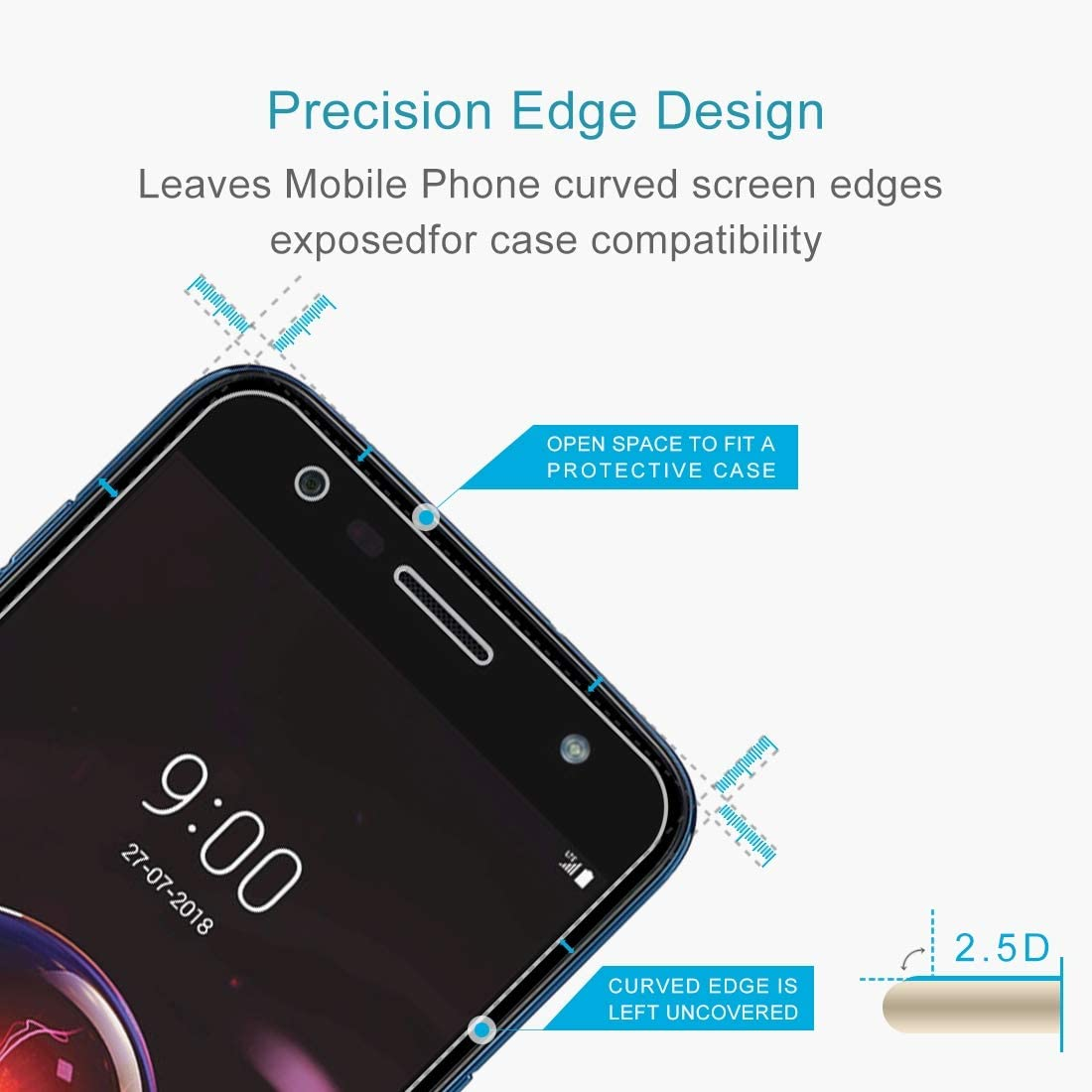 Wangl Mobile Phone Tempered Glass Film 100 PCS 0.26mm 9H 2.5D Explosion-Proof Tempered Glass Film for LG X power3 Tempered Glass Film