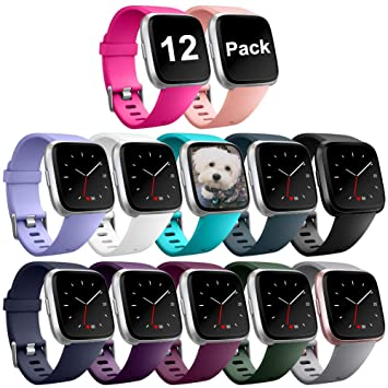 Zekapu For Fitbit Versa Strap, Replacement Bands TPU Sport Accessory  Wristband for Fitbit Versa/Fitbit Versa Special Edition Small Large, 12  Colours