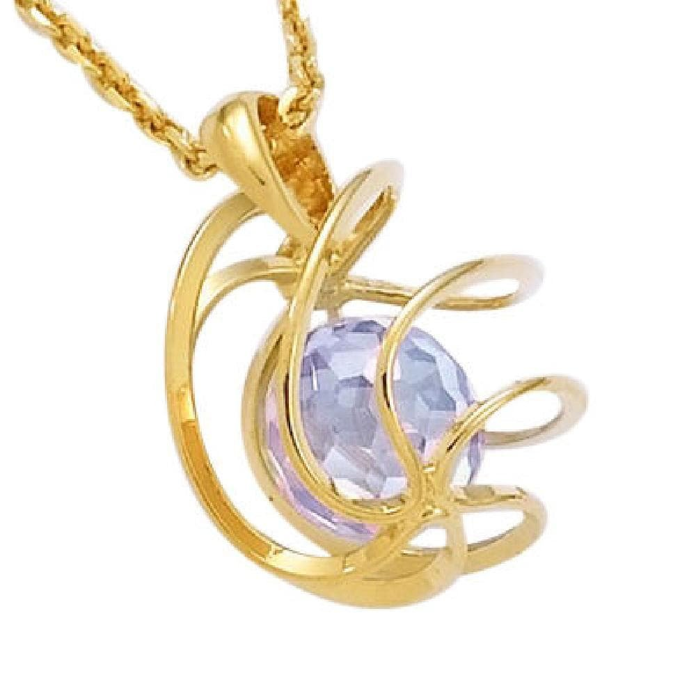 18k Gold Plated Facet Lavender Violet Cubic Zirconia Ball Spiral Cage Pendant So Chic Jewels Sold Alone: Chain not Included