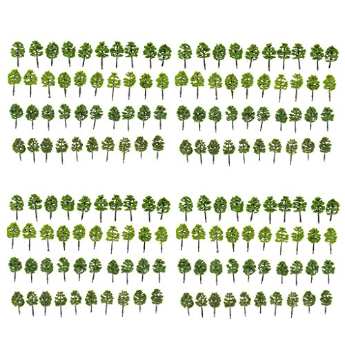 MonkeyJack Pack/160pcs Model Trees 1:250 Z Scale Layout Train Scenery w/ Assorted Color
