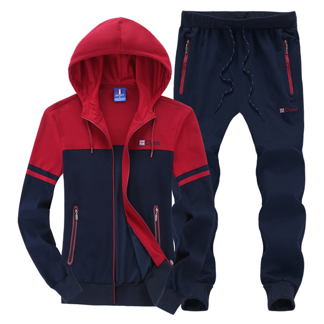 Modern Fantasy Men's Colour Blocking Winter Casual Tracksuit Running Joggers Sports Sweatsuit Big Darkblue XXL