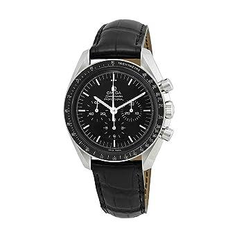 Amazon Com Omega Speedmaster Chronograph Black Dial Black Leather