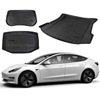 DESLE Only Fit 2021-2022 Tesla Model 3 Fully Cover 3D Trunk Mats All Weather Trunk Cargo Liners Custom Fit Eco-Friendly…