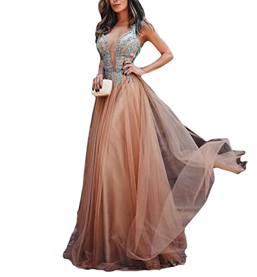 Gorgeous Womens Rhinestones Beaded Prom Dress Long Vestidos de Fiesta