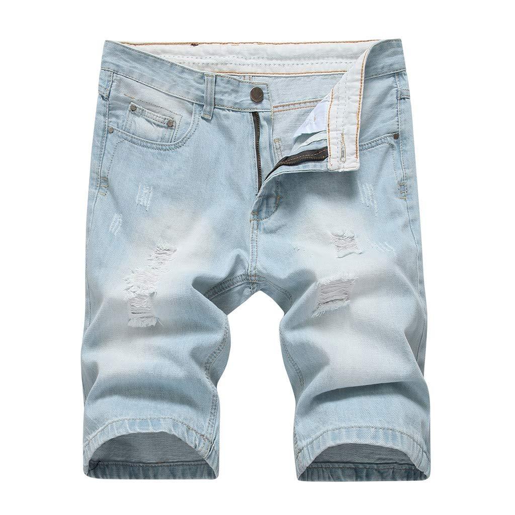 QinMM jeans Uomo Stretti alla Caviglia Chiari Jeans Uomo strappato Jeans Skinny Uomo Jeans Uomo Elasticizzati Jeans Uomo Corti Vintage Hip Hop Streetwear Pantaloni Jeans Moto Uomo