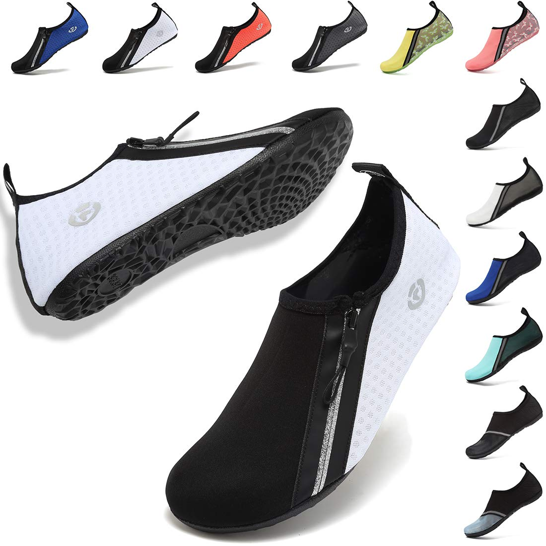 VIFUUR Womens Mens Water Shoes Adjustable Aqua Socks for Outdoor Swimming Beach Surfing Zipper