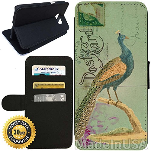 - Flip Wallet Case for Galaxy S7 (Vintage Peacock) with Adjustable Stand and 3 Card Holders | Shock Protection | Lightweight | Includes Stylus Pen by Innosub
