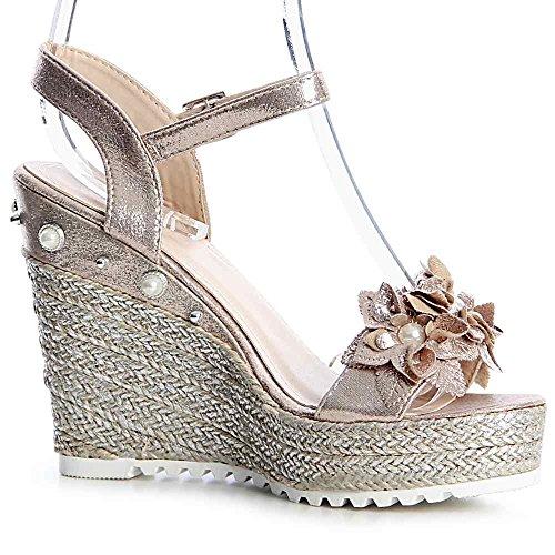 Femmes Or Topschuhe24 Sandales 824 Sandalettes TnP5wx5Iqa
