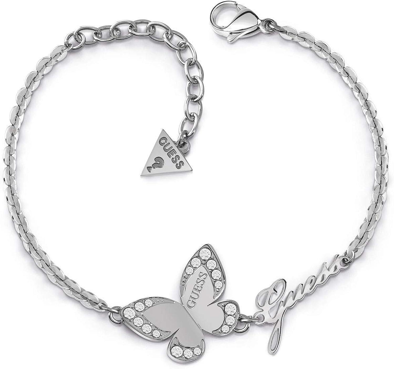 Pulsera Guess Love Butterfly acero inoxidable quirúrgico logo chapada rodio UBB78049-S [AC1119]