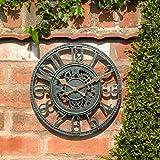 Garden Mile Large 30cm Vintage Open Face Blue Slate Effect Weatherproof Outdoor indoor Garden Wall Clock Decorative Fence Garden Ornament (Blue Slate Effect Open Face 30cm Clock (GCLOCK7))