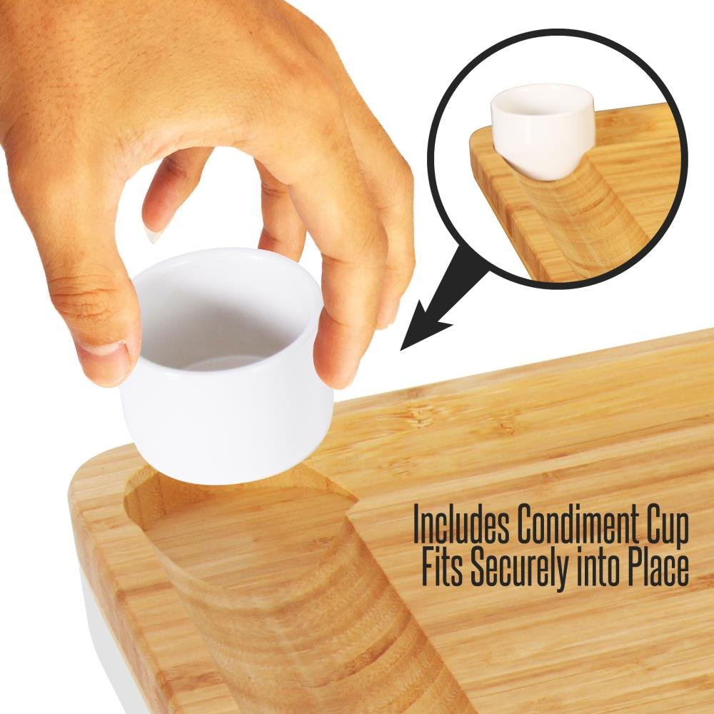 Bamboo Cheese Cutting Board Set - Bonus Condiment Cup - Closing Drawer Tray, 4 Stainless Steel Knives - Flat Wood Rectangle Serving Platter Plate Kit Fruit Meat - NutriChef by NutriChef (Image #2)