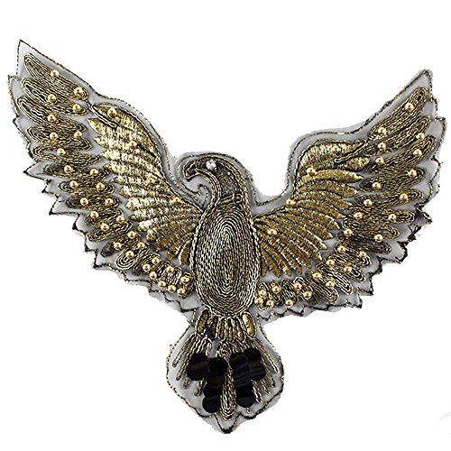 DIY Handmade Materials Shiny Eagle Sequins Iron on Applique Embroidered Patches(Eagle)