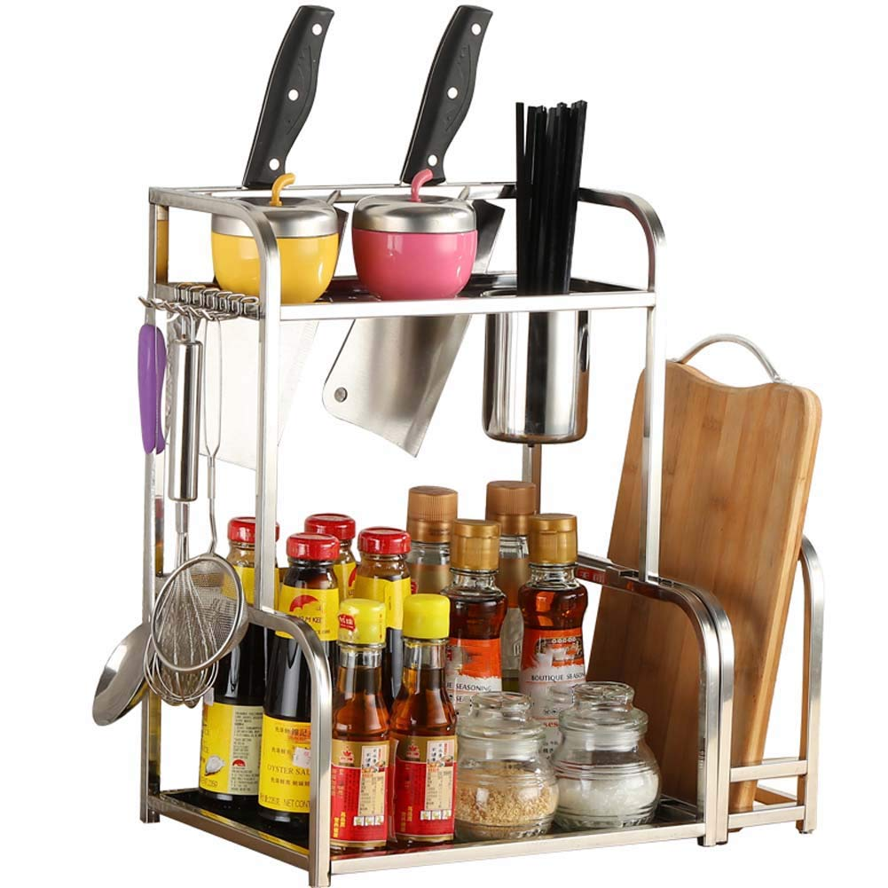 2-Layer Kitchen Countertop Storage Rack for Seasoning Jars, Etc. with Cutlery Basket, Knife Holder, Chopping Board 482242cm