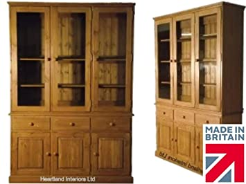 Solid Pine Glazed Display Dresser Cabinet, 2 Metre Tall Handcrafted
