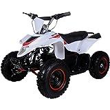 500 Watt Electric Four Wheeler ATV Kids Sport Quad for Children w/Reverse (Brushless Motor) - White/Red
