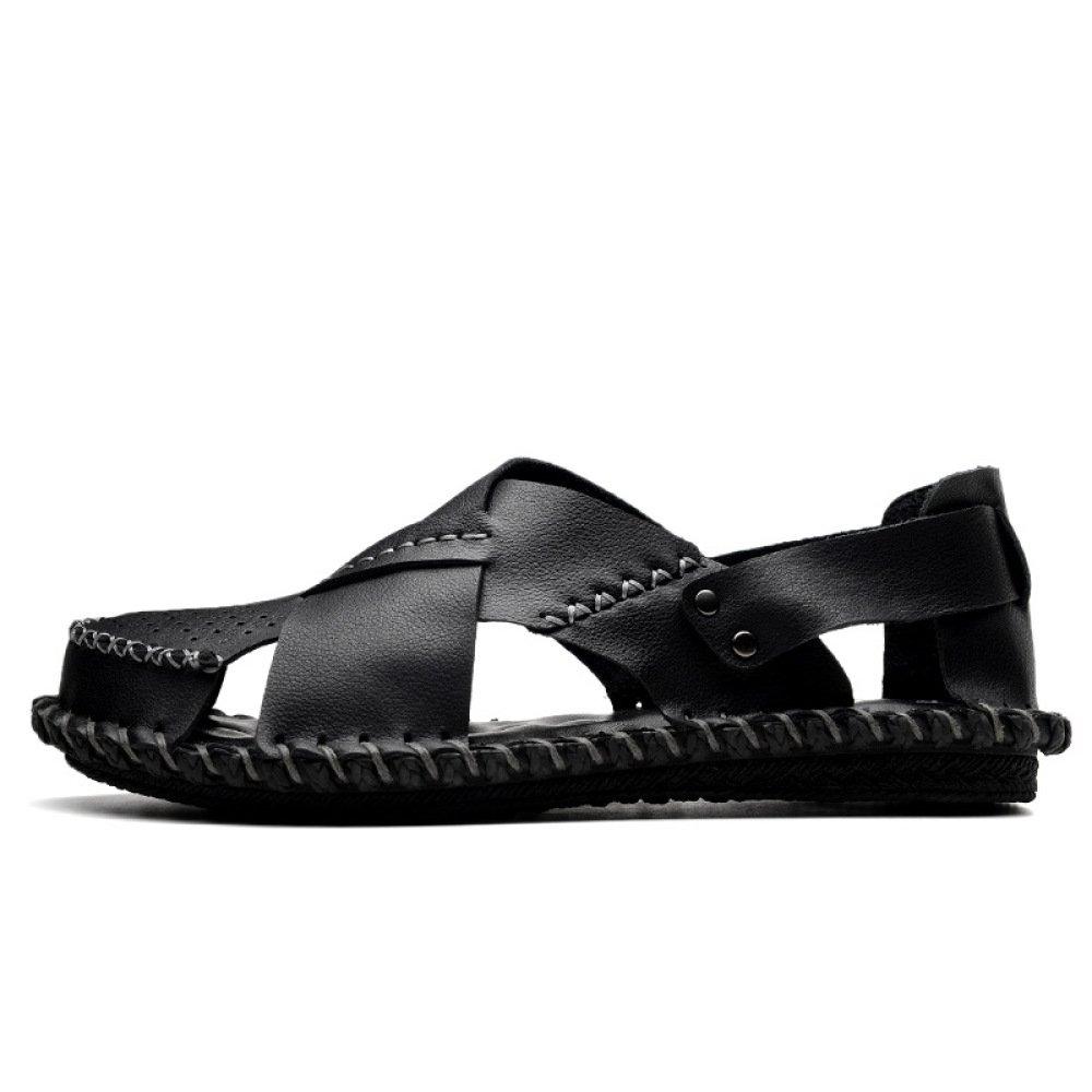 Männer Closed-Toe Strand Schuhe Casual Breathable Wandern Sandalen Haken Schleife Outdoor Wandern Breathable Lederschuhe Sandalen schwarz 857b33
