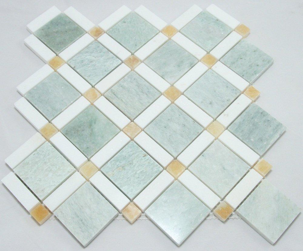 Ming Green, Thassos White, Honey Onyx Mosaic Bathroom Kitchen ...