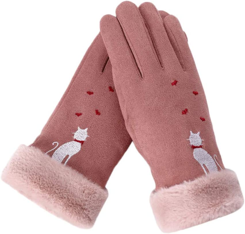 Black FunDiscount Cute Cat Love Heart Gloves Faux Fur Fleece Lining Thermal Cozy Thick Gloves Novelty Cold Weather Accessories Mittens Gauntlet Womens Winter Gloves