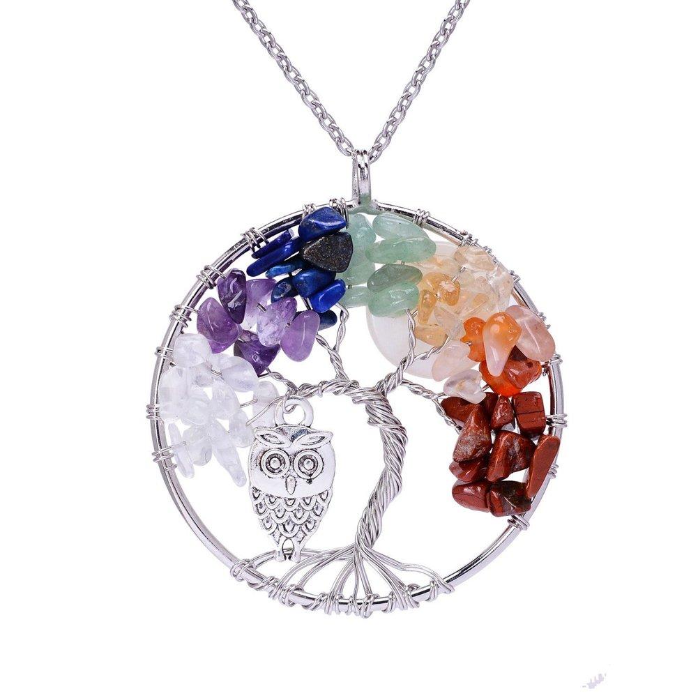 ZIOOER Tree of life Amethyst Rose Crystal Gemstone Chakra Pendant Necklace Jewelry Style: B