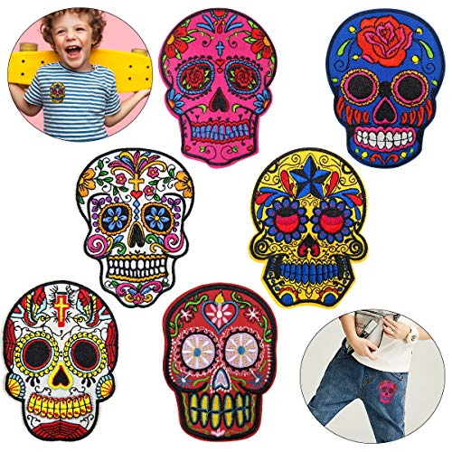 Cieovo 6 Pcs Large Hippie Skull Embroidered Patches Floral Sugar Skull Cross Christian Flowers Sew/Iron on Embroidered Appliqued Badge Sign Patch on Jacket