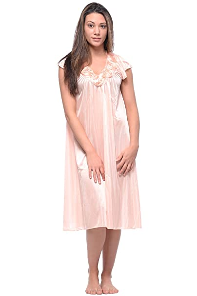 7977bcd53e Casual Nights Women s Cap Sleeve Rose Satin Nightgown - Orange - Large