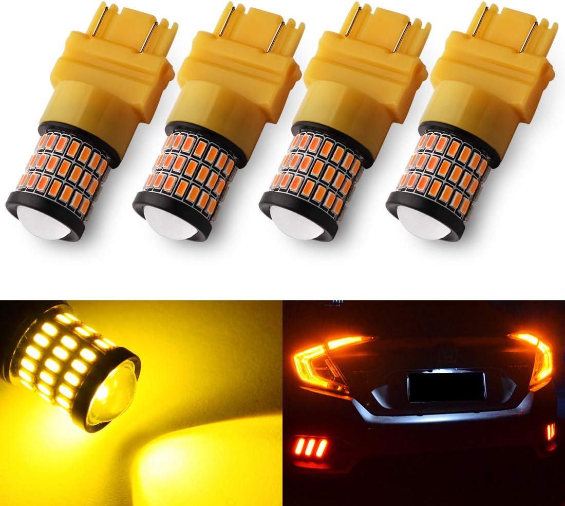 Yorkim Ultra Bright 3157 LED Bulb Amber, 3157 LED Brake Lights, 3157 LED Backup Reverse Lights, 3156 LED Tail Lights with Projector - 3056 3156 3156A 3057 4057 3157 4157 T25 LED Bulbs, Pack of 4