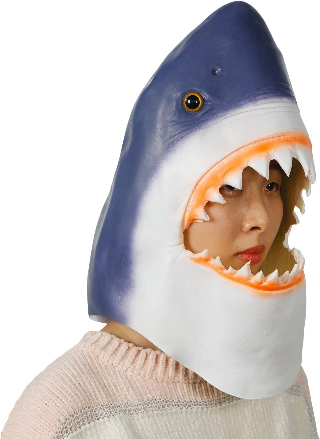 ifkoo Shark Mask Novelty Halloween Costume Party Latex Animal Head Mask
