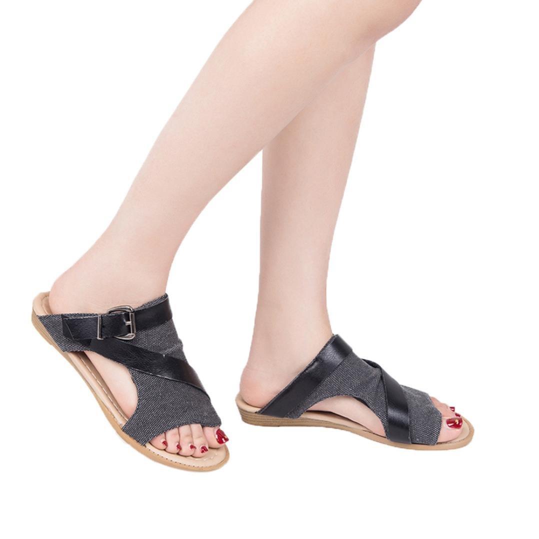 FORUU Women Slide Sandal Wedge Crisscross Strappy Buckle Stacked Wedge Sandals (39, Black)