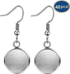 LANBEIDE 40 Packs Earrings Wire Hooks Blanks, Fit 12mm Cabochon Settings Trays, Stainless Steel Earrings Bezel for DIY Jewelry Making (Silver)