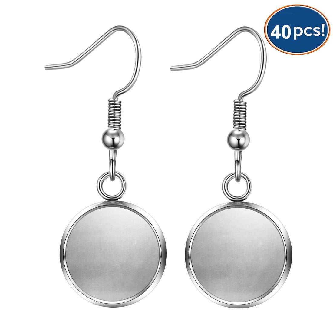 LANBEIDE 40 Packs Earrings Wire Hooks Blanks, Fit 12mm Cabochon Settings Trays, Stainless Steel Earrings Bezel for DIY Jewelry Making (Silver) by LANBEIDE