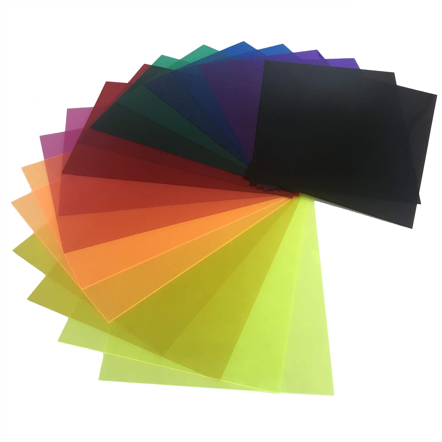 Initial heart 18 Pack Correction Gel Light Filter Sheet Colored Overlays Transparency Color Film Plastic Sheets 11.7 by 8.3 Inches 9 Assorted Colors 2 Sets by Initial heart