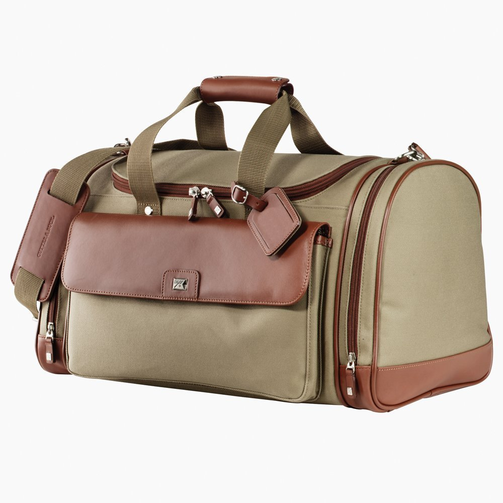 Cutter and Buck Club Duffel Leather Lining & Canvas Duffel Bag Luggage Bag Chestnut