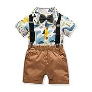 Carlstar Little Boys Gentleman Outfit Suits,Baby Boys Short Pants Set,Short Sleeve Shirt+Suspender Pants+Bow Tie 4Pcs (Dinosaur, 1-2T/80)
