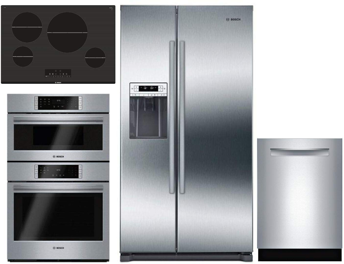 "Bosch 4 Pcs Kitchen Package with B20CS30SNS 36"" sbs fridge, HBL87M52UC 30"" Elec. Double Wall Oven/Microwave Combo, NIT8068UC 30"" Elec. Cooktop and SHPM98W75N 24"" Built In Dishwasher in Stainless Steel"
